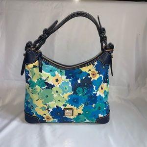 Dooney & Bourke Blue Floral Hobo Shoulder Bag